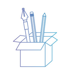 Cardboard box with fountain pen and pencils in vector