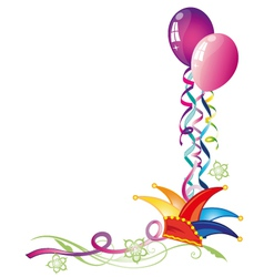 Carnival hat balloons vector image