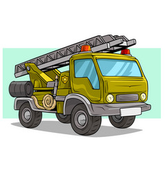 cartoon military army big cargo truck with ladder vector image