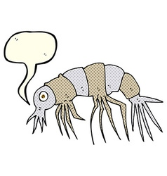 Cartoon shrimp with speech bubble vector