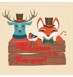 Christmas cute forest animals deer and fox holding vector