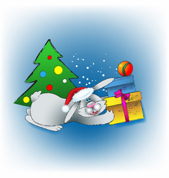 Christmas rabbit with gifts vector