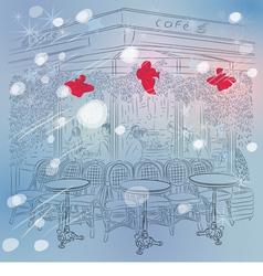 Christmas sketch of the Parisian cafe vector