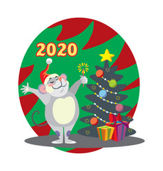 christmass mouse 4 vector image