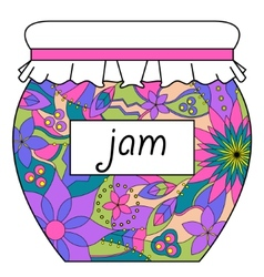 Colorful jam jar vector image
