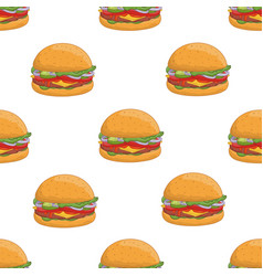 colorful seamless pattern with tasty hamburgers on vector image