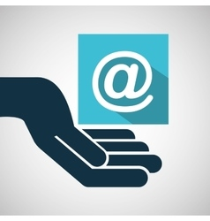 Concept e-commerce hand with mail icon vector