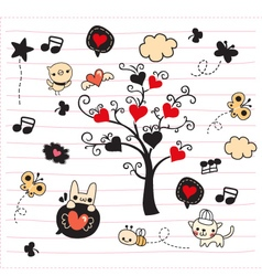 Cute doodle tree with love vector