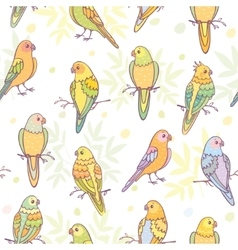 cute parrots seamless vector image