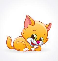 cute smiling cartoon kitten cat lying vector image