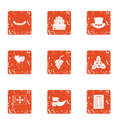 demeanor icons set grunge style vector image