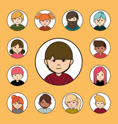 diverse people group cartoon characters round vector image