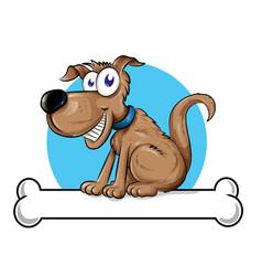 dog mascot logo with bone vector image