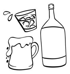 Doodle drawing for beer and alcohol vector