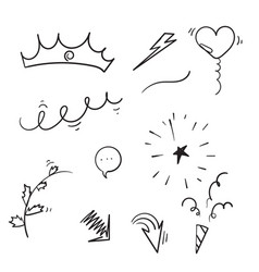 Doodles collection curly arrow swishes swoops vector