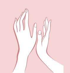 Female hands outline drawing on pink background vector