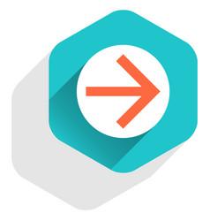 Flat arrow sign round icon hexagon button vector
