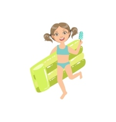 Girl Walking Holding Air Bed And Ice-cream On A vector