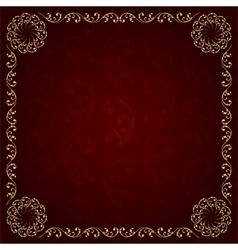 Gold frame with vintage floral elements vector