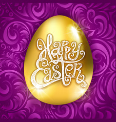 golden egg happy easter with decorative purple vector image