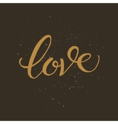 Golden hand lettering of the word LOVE vector image