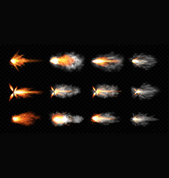 Gun flashes with fire and smoke pistol shots set vector
