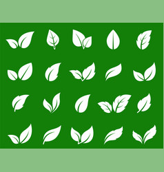 Hand drawn white abstract leaf icons set vector