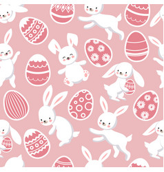 Happy easter seamless patten with cute vector
