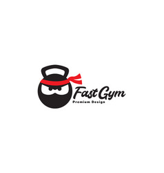 Head cartoon ninja with gym logo design icon vector