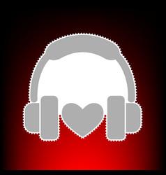 headphones with heart vector image
