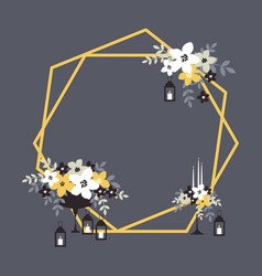 Hexagonal wedding arch with flowers candles and vector