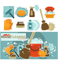 housework tools icons of home washing vector image