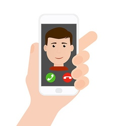 Incoming call from boyman on phone in hand flat vector image