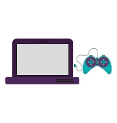 Isolated gamepad and laptop design vector image