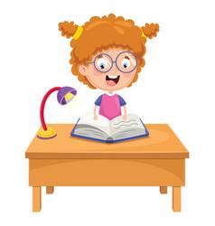 Kid reading vector