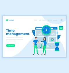 Landing page template time management concept with vector