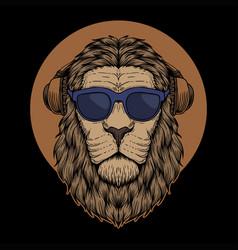 lion head eyeglasses vector image