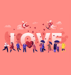 Love and loving relations concept cheerful men vector