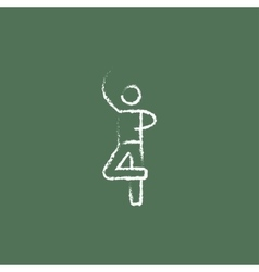 Male dancer icon drawn in chalk vector