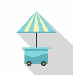 Mobile cart with blue umbrella icon flat style vector