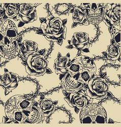 monochrome tattoos seamless pattern vector image