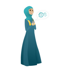Muslim business woman holding a mobile phone vector