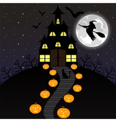 night landscape on Halloween vector image