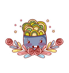 noodles kawaii cartoon vector image