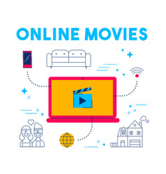 Online movie and tv streaming app service concept vector
