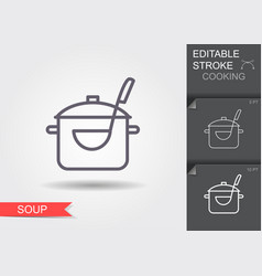 pan with a ladle line icon with editable stroke vector image