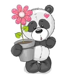 Panda with flower vector