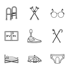 People with disabilities icons set outline style vector image