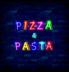 pizza and pasta neon sign vector image
