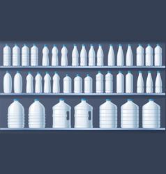 plastic bottles on shelves bottled distilled vector image
